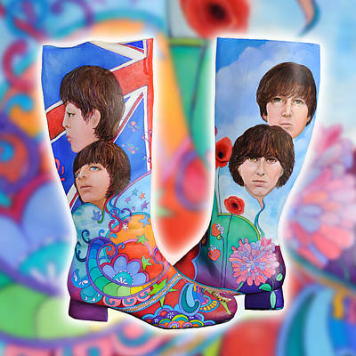 Peter Max Painting - Beatle Boots by Mary Johnson