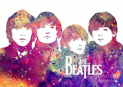 Mccartney Digital Art - Beatles 2 Watercolor Print by Svetla Tancheva