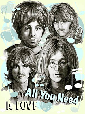 Charcoal Mixed Media - Beatles All You Need Is Love by Gitta Glaeser