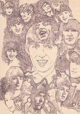 George Harrison Art Drawing - Beatles Collage Dance by Irakli Jorjadze