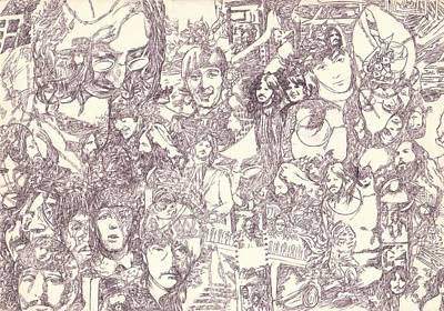 Starkey Drawing - Beatles Collage by Irakli Jorjadze