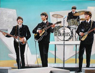 Beatles On Ed Sullivan Art Print by Leland Castro