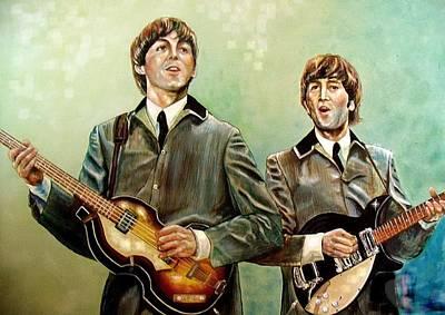 Beatles Paul And John Art Print by Leland Castro