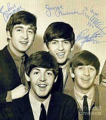 Sgt Pepper Beatles Painting - Beatles Signed Photograph by Pd