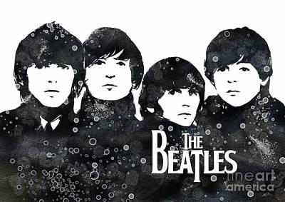 Mccartney Digital Art - Beatles Watercolor Print by Svetla Tancheva