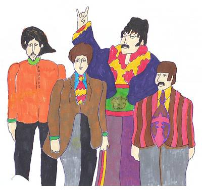 George Harrison Art Drawing - Beatles Yellow Submarine by Irakli Jorjadze