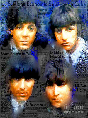 Fab Four Digital Art - Beatles Capsule - Beatles Pop Art Canvas by Leah Devora