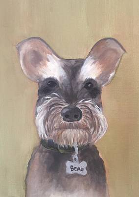 Mini Schnauzer Painting - Beau by Ginger Alexander