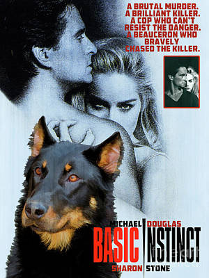 Painting - Beauceron Art Canvas Print - Basic Instinct Movie Poster by Sandra Sij