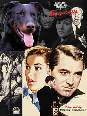 Painting - Beauceron Art Canvas Print - Suspicion Movie Poster by Sandra Sij