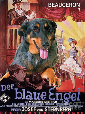 Painting - Beauceron Art Canvas Print - The Blue Angel Movie Poster by Sandra Sij