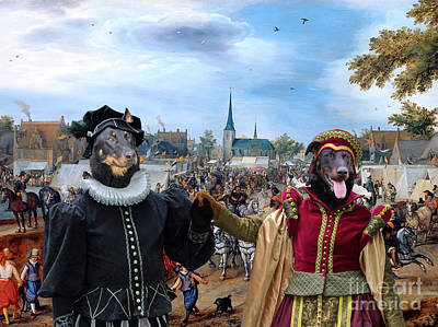 Painting - Beauceron - Berger De Beauce Art Canvas Print - Prince And Princess Of Orange On Equine Market In Va by Sandra Sij