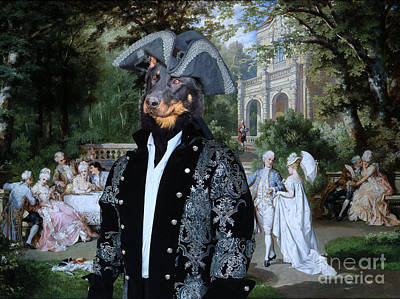 Painting - Beauceron - Berger De Beauce Art Canvas Print - The Garden Party by Sandra Sij