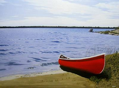 Beaultiful Red Canoe Art Print