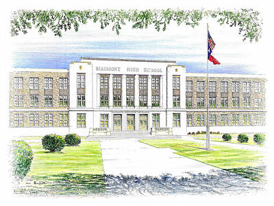 Drawing - Beaumont High School by Randy Welborn