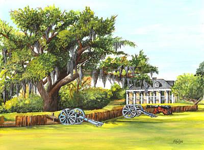 Spanish Moss Painting - Beauregard House by Elaine Hodges