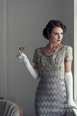 Photograph - Beautiful 1930s Woman Holding A Cocktail by Lee Avison