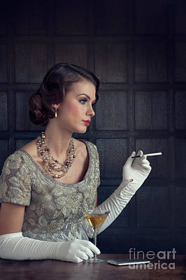 Beautiful 1930s Woman With Cocktail And Cigarette Art Print