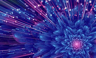 Flower Digital Art - Beautiful Abstract Blue Fractal Flower, Glossy Violet Flower.  by Oksana Ariskina
