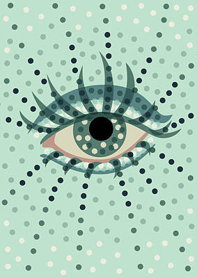 Beautiful Abstract Dotted Blue Eye Art Print by Boriana Giormova
