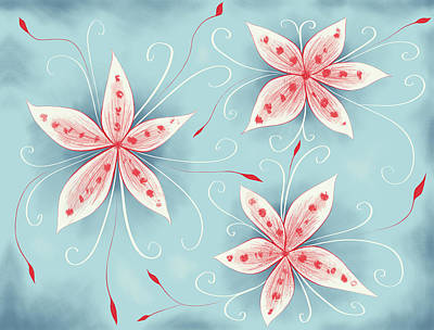 Blooming Digital Art - Beautiful Abstract White Red Flowers by Boriana Giormova