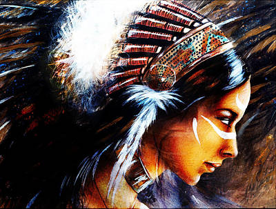 Native American Spirit Portrait Painting - Beautiful Airbrush Painting Of A Young Indian Woman Wearing  by Jozef Klopacka