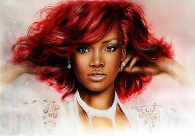 beautiful airbrush portrait of RihanA beautiful airbrush portrait of Rihanna with red hair and a fac Art Print by Jozef Klopacka