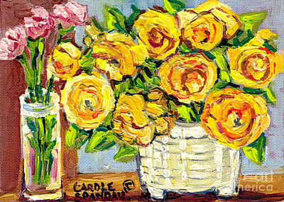 Painting - Beautiful And Vibrant Bouquets Of Flowers In Ceramic Vase Colorful Original Painting Carole Spandau by Carole Spandau