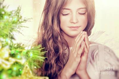 Photograph - Beautiful Angel Praying by Anna Om