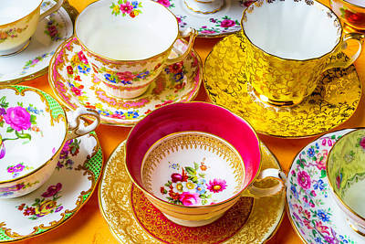 Tea Time Photograph - Beautiful Assortment Of Tea Cups by Garry Gay