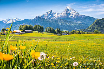Beautiful Austrian Mountain Landscape With Flowers And Idyllic Farm Houses Art Print