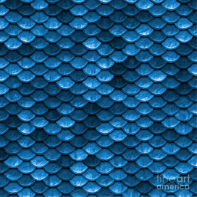 Scale Digital Art - Beautiful Bahama Blue Mermaid Fish Scales by Tina Lavoie