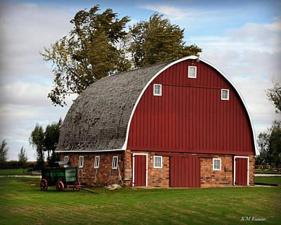 Blue Barn Doors Digital Art - Beautiful Barn And Antique Wagon by Kathy M Krause