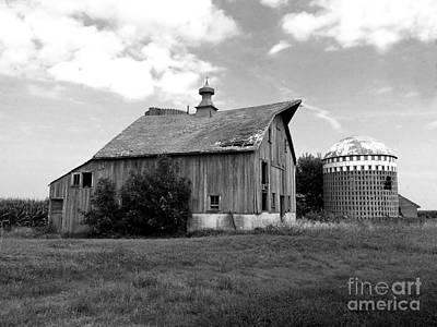 Photograph - Beautiful Barn And Mini Silo - Bw by Kathy M Krause