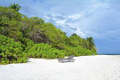 Photograph - Beautiful Beach In Maldives With Vegetation On The Beach by Oana Unciuleanu