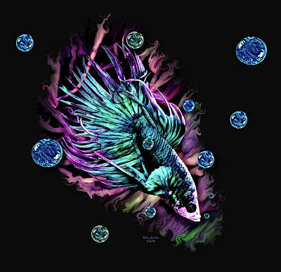Digital Art - Beautiful Beta Fish by Artful Oasis