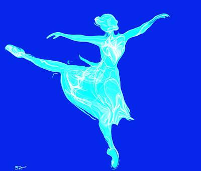 Dancer Painting - Beautiful Blue Ballerina by Abstract Angel Artist Stephen K