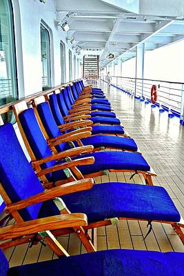 Photograph - Beautiful Blue Deck Chairs by Kirsten Giving