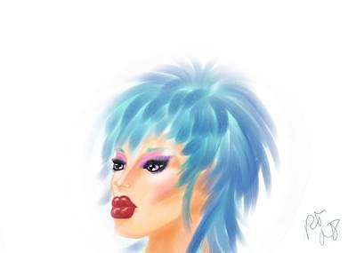 Drag Mixed Media - Beautiful Blue by Ronald Terrel