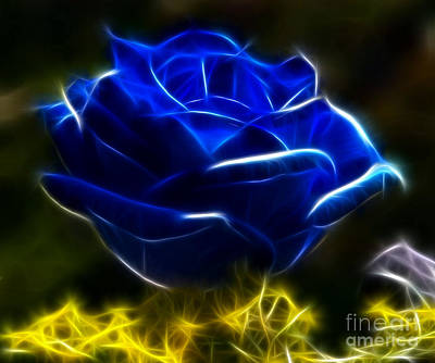 Fabulous Mixed Media - Beautiful Blue Rose by Pamela Johnson