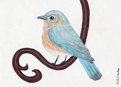 Drawing - Beautiful Bluebird by Nicole I Hamilton
