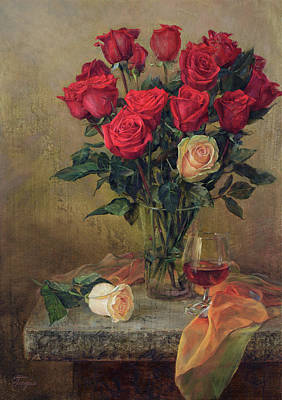 Painting - Beautiful Bouquet Of Roses by Galina Gladkaya