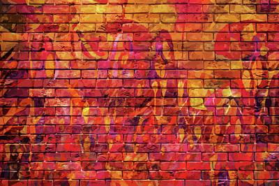Mixed Media - Beautiful Brick Wall Graffiti by Clive Littin