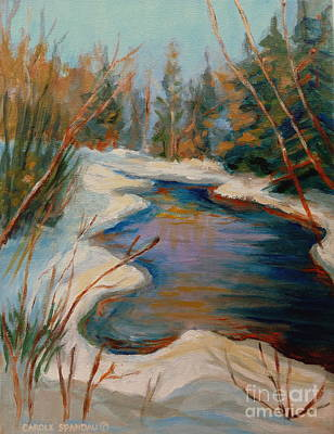 Thawing Time Painting - Beautiful Brook In Winter by Carole Spandau