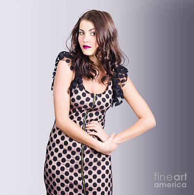 Photograph - Beautiful Brunette Girl Wearing Retro Zipper Dress by Jorgo Photography - Wall Art Gallery