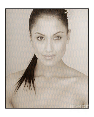 Photograph - Beautiful Brunette In Studio by Michael Edwards