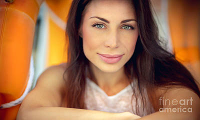 Photograph - Beautiful Brunette Woman by Anna Om