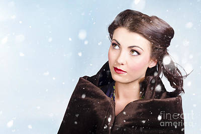 Photograph - Beautiful Brunette Woman Freezing In Outdoor Forest by Jorgo Photography - Wall Art Gallery