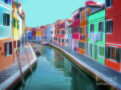 Digital Art - Beautiful Burano Venice Italy by Jack Torcello
