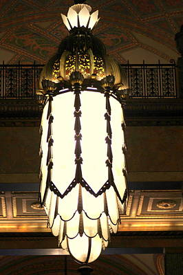Brass Etched Photograph - Beautiful Chandelier In Fisher Building - Detroit by Anita Hiltz